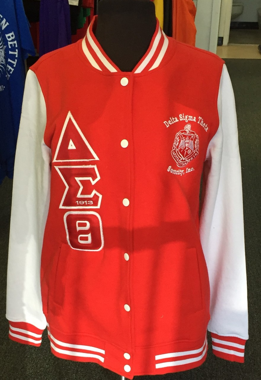 DST LETTERMAN JACKET- LADIES RED/WHITE