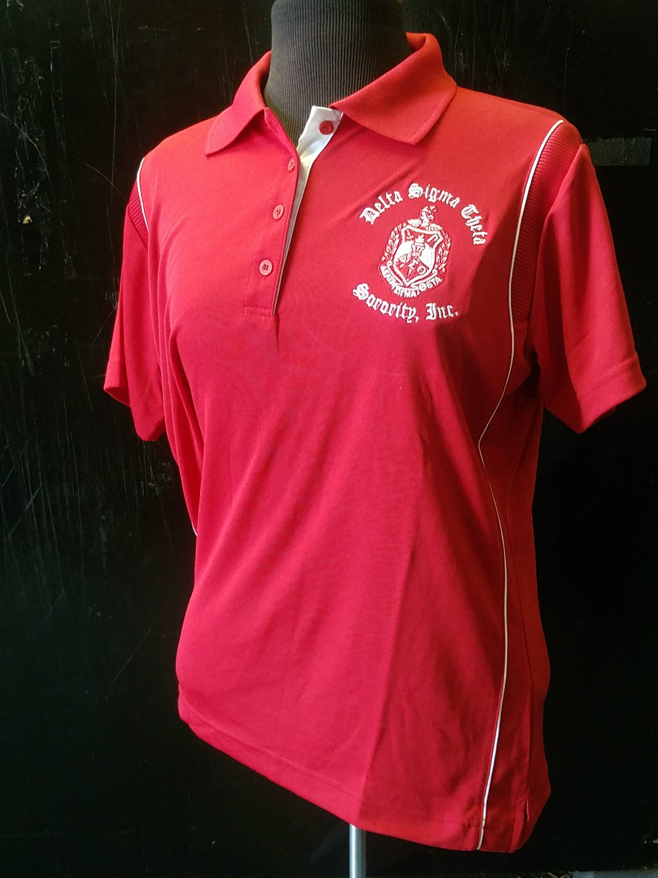 DST BAW POLO - LADIES RED/WHITE