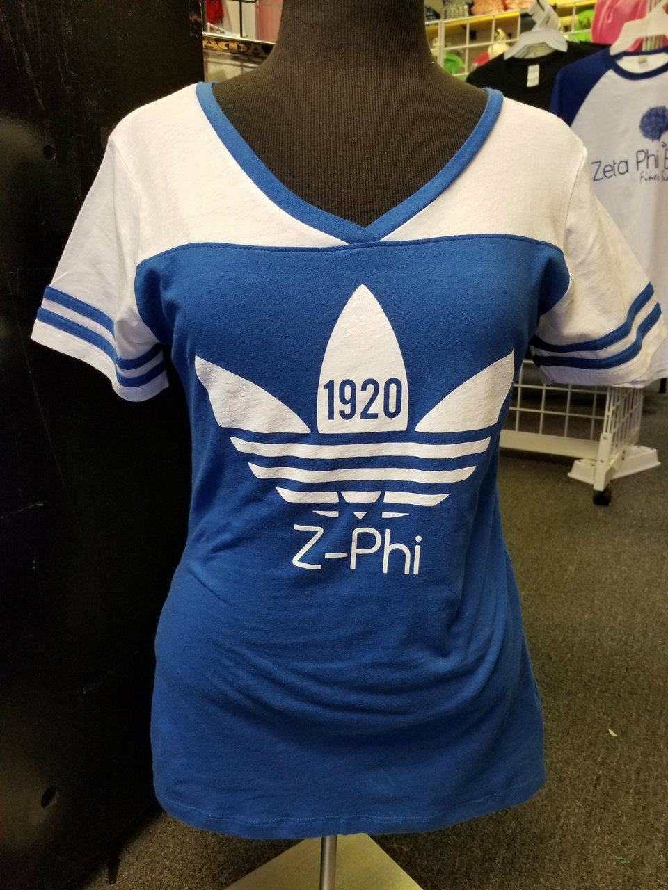 ZPB AD1922 SPLIT V-NECK - ROYAL/WHITE
