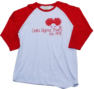 DST AFRO PUFF RAGLAN - WHT/RED
