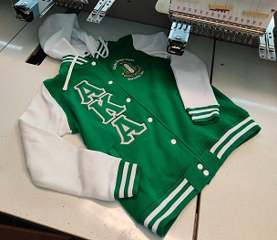 AKA LETTERMAN JACKET- LADIES KELLY/WHITE